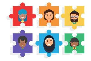 Diverse team on puzzle, diversity and teamwork vector
