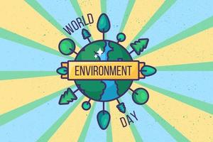 World environment day poster background or card vector