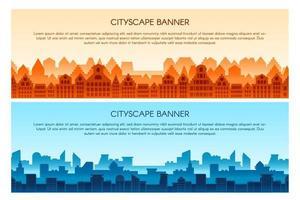 Cityscape flat vector banner templates set
