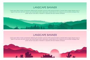 Landscape flat vector banner templates set