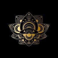 Lotus flower with geometric golden abstract ornament linear illustration vector