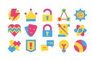 colección de diferentes iconos de conjunto de diseño creativo vector