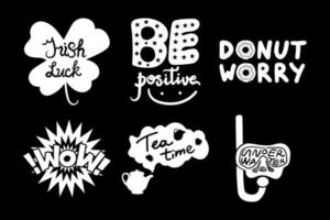 Positive Posters Donut Worry Hand Drawn Set Quote vector