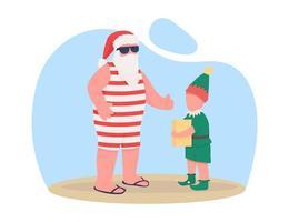 Summer Santa with elf