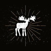 Retro canadian moose silhouette vector