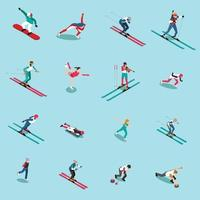 Snowsports People Isometric Collection Vector Illustration