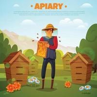 Beekeeper With Honeycombs Cartoon Illustration Vector Illustration