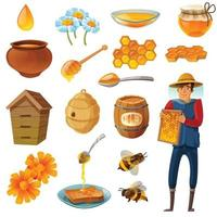 Honey Cartoon Set Vector Illustration