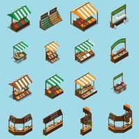 Farm Market Stall Set Vector Illustration