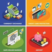 Online Banking 4 Isometric Icons Vector Illustration
