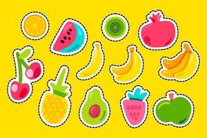 conjunto de vectores planos de frutas tropicales