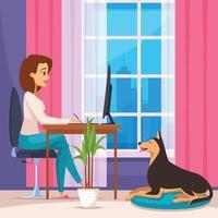 Designer  At Home Composition Vector Illustration