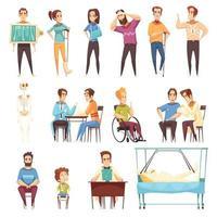 Traumatologist Orthopedist Doctor Set Vector Illustration