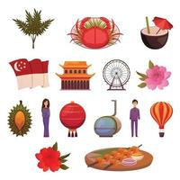 Singapore Landmarks Attractions Icon Set Vector Illustration