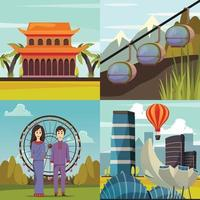 Singapore Landmarks 4 Orthogonal Icons Vector Illustration
