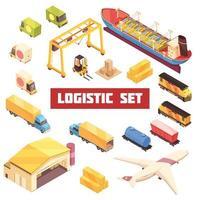 conjunto de elementos isométricos de transporte logístico vector