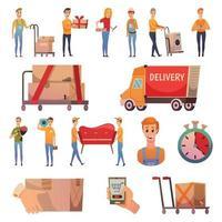 mensajería, entrega, iconos ortogonales, conjunto, vector, ilustración vector