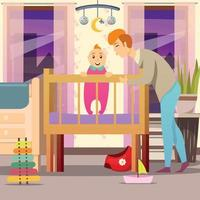 Father Near Son Orthogonal Background Vector Illustration