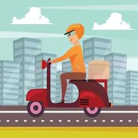 Courier Delivery Orthogonal Background Poster Vector Illustration