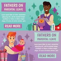 Fathers Parental Leave Orthogonal Banners Vector Illustration