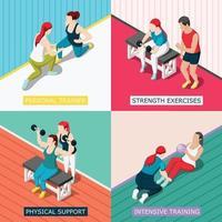 Personal Sport Trainer 2x2 Design Concept Vector Illustration