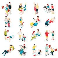 Personal Trainer Sport Icons Vector Illustration