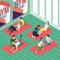 Fitness Trainers Isometric Background Vector Illustration