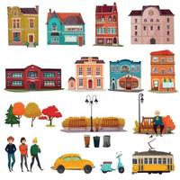 City Environment Set Vector Illustration