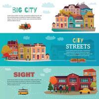 City Buildings Horizontal Banners Set Vector Illustration