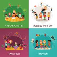 Kindergarten Concept Icons Set Vector Illustration