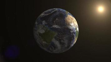 3D do planeta Terra girando no espaço