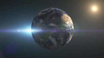 planeta Terra girando no espaço