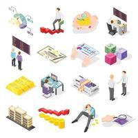 Stock Exchange Isometric Icons Vector Illustration