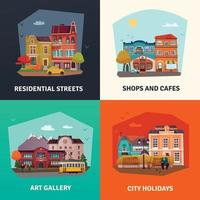 City Buildings Concept Icons Set Vector Illustration