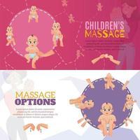Banners de masaje para bebés establecen ilustración vectorial vector