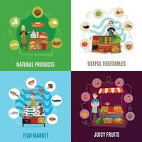 Street Food Concept Icons Set Vector Illustration