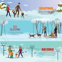 Winter Recreation Banners Set Vector Illustration