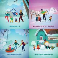 Winter Recreation Concept Icons Set Vector Illustration