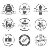 Spices And Herbs Monochrome Emblems Vector Illustration