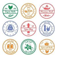 Spices And Herbs Stamps Vector Illustration