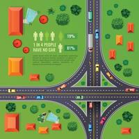 Crossroad Top View Illustration Vector Illustration