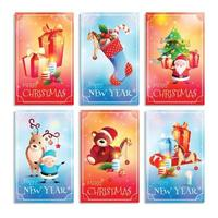New Year and Christmas Cartoon Cards Vector Illustration