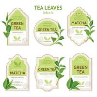 Realistic Tea Leaves Labels Vector Illustration