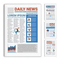 Realistic Mockup Newspapers Set Vector Illustration