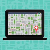 Electronic Offline Map On Laptop vector