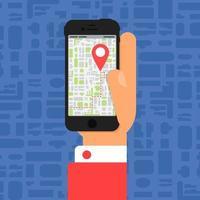 mapa electrónico fuera de línea en el teléfono inteligente en la mano vector
