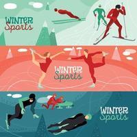 Winter Sports Horizontal Banners Vector Illustration