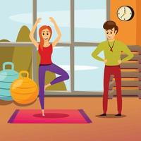Personal Yoga Instructor Composition Vector Illustration