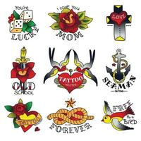 Old Tattooing School Emblems Vector Illustration