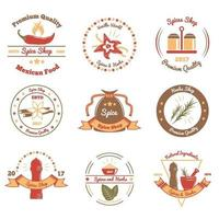 Spices And Herbs Colored Emblems Vector Illustration